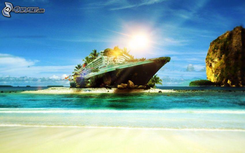 navire, île, roche dans la mer, soleil, plage de sable