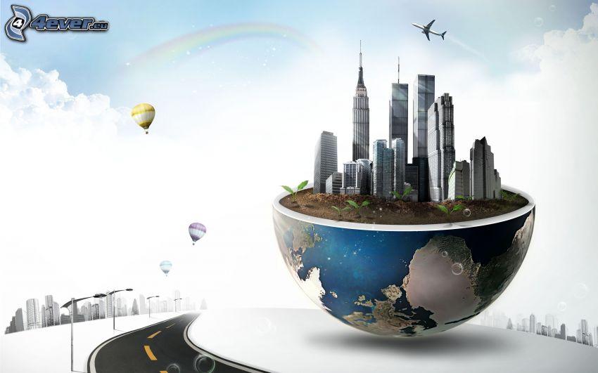 New York, gratte-ciel, planète Terre, avion, ballons, arc en ciel, route