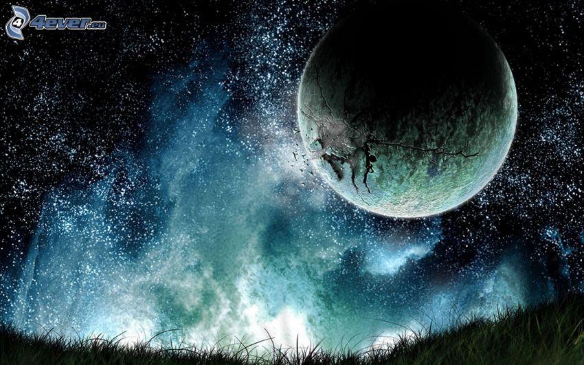 planète, ciel étoilé, crevasse