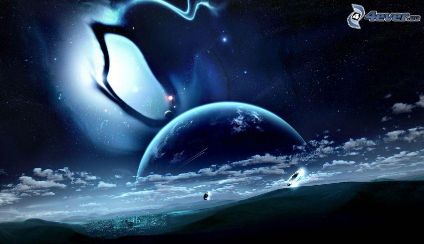 planète, ciel étoilé
