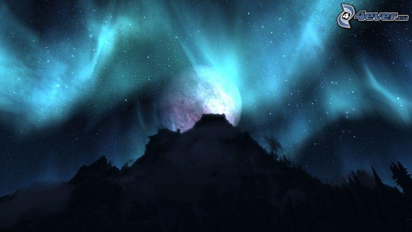 planète, montagne, silhouette, étoiles, lueur