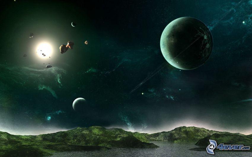planète, soleil, univers
