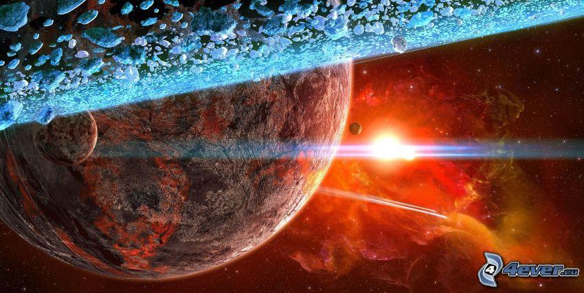 planètes, nébuleuse, soleil