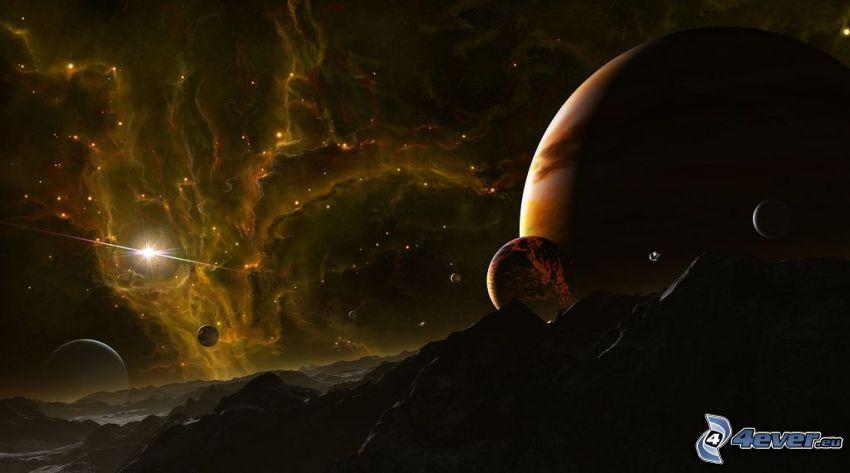 planètes, nébuleuse