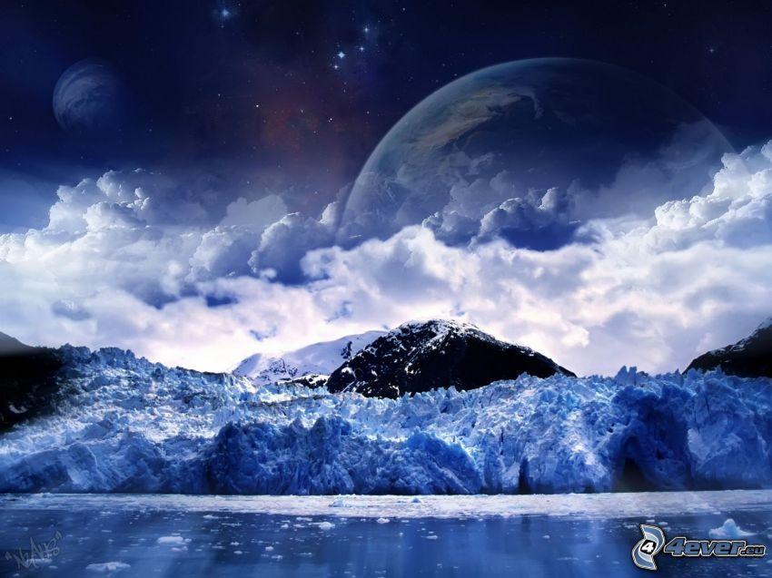 planètes, nuages, colline, lac