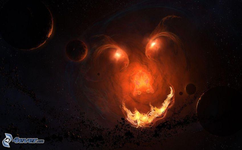 planètes, visage