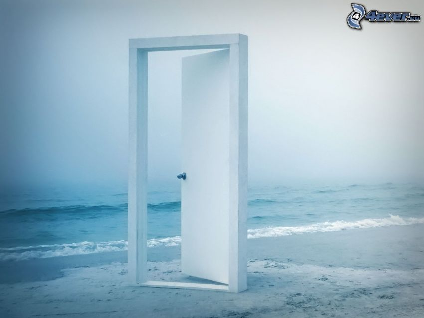 porte, plage de sable, mer