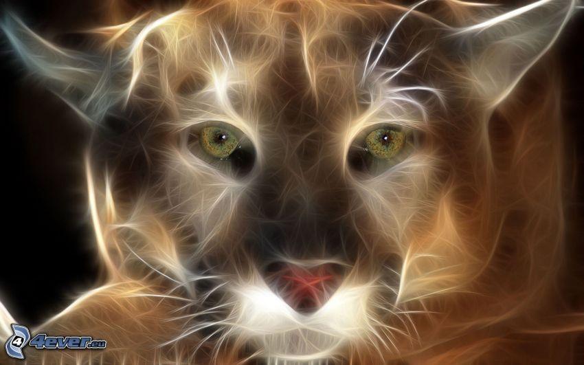 puma, animaux fractals