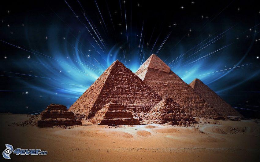 pyramides de Gizeh, Égypte, ciel de la nuit