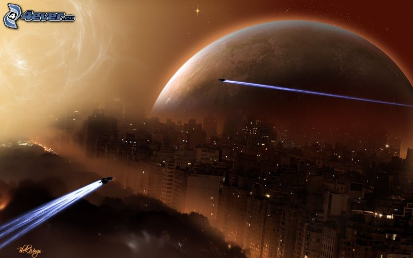 sci-fi paysage, avion de chasse, ville dans la nuit, planète