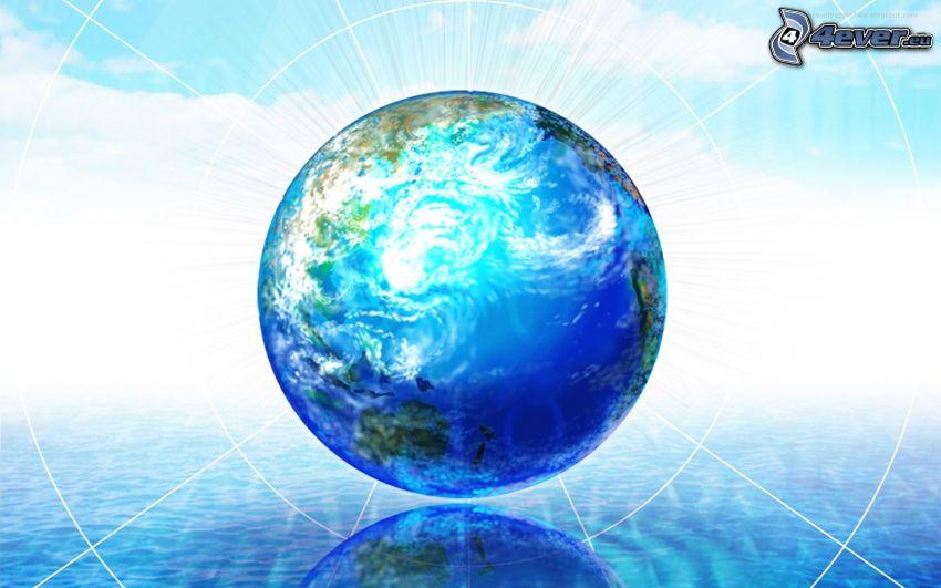 Terre, fond bleu