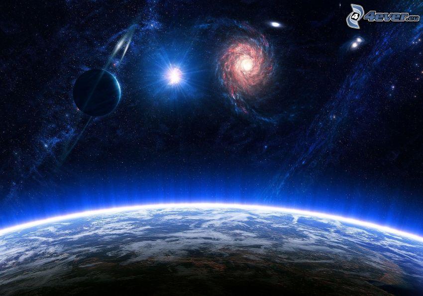 Terre, galaxie, étoiles, planètes