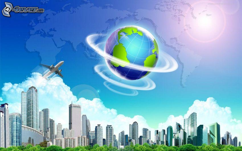 Terre, gratte-ciel, nuages, avion