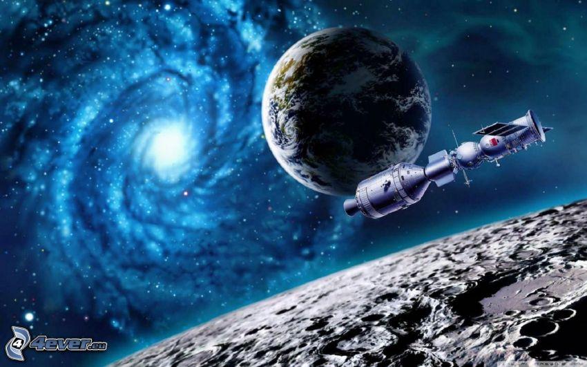 Terre, lune, galaxie, satellite