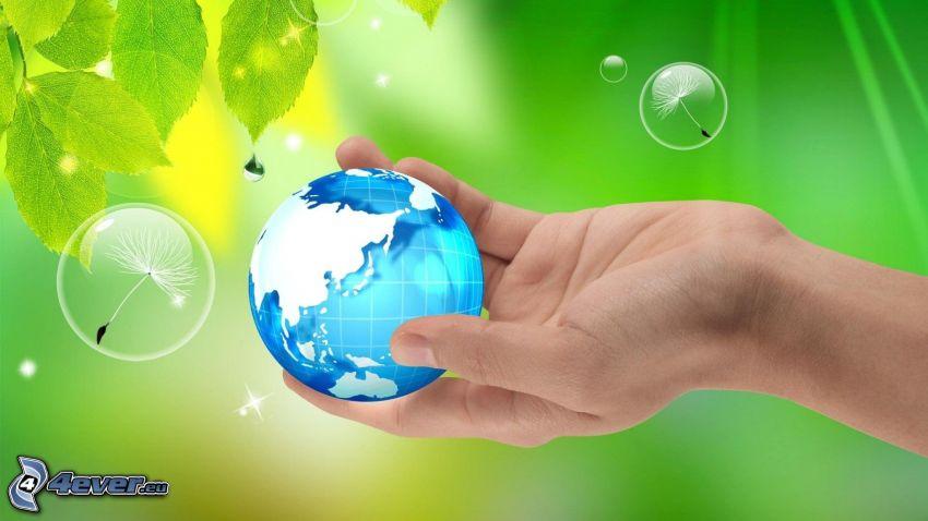 Terre, main, bulles, feuilles