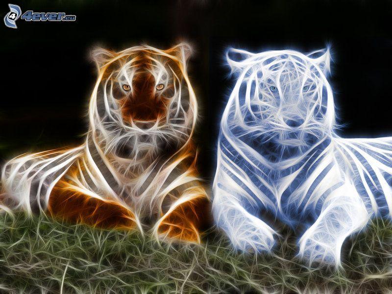 tigres, tiger fractale, animaux fractals