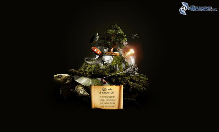 tortue, île, arbre
