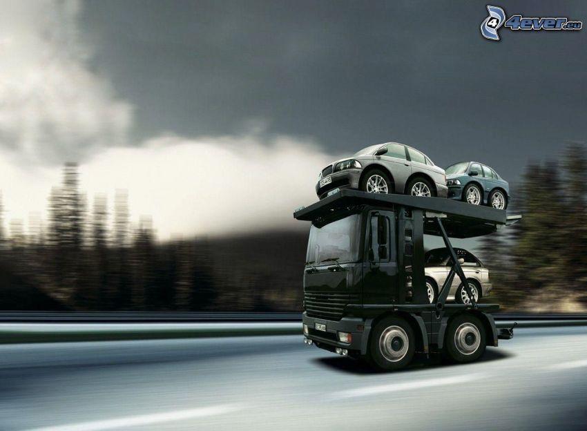 tracteur routier, voitures, la vitesse