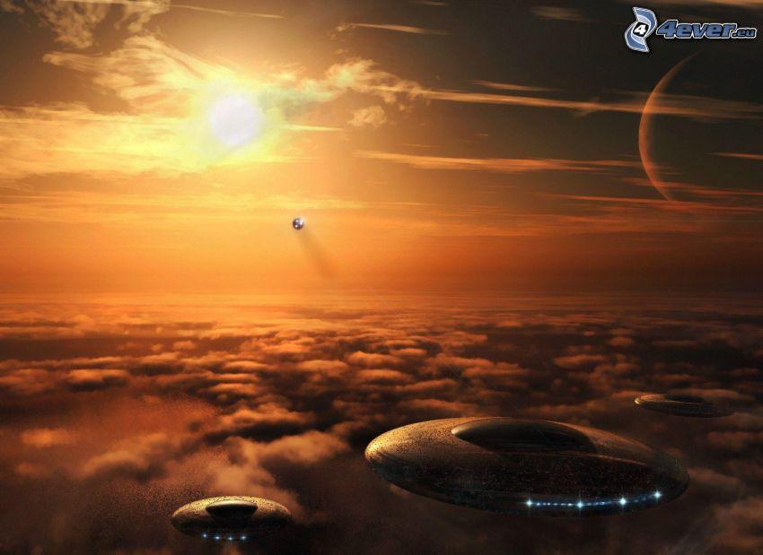 UFO, au-dessus des nuages, soleil