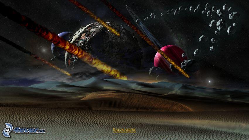 univers, planètes, ceinture d'astéroïdes, désert