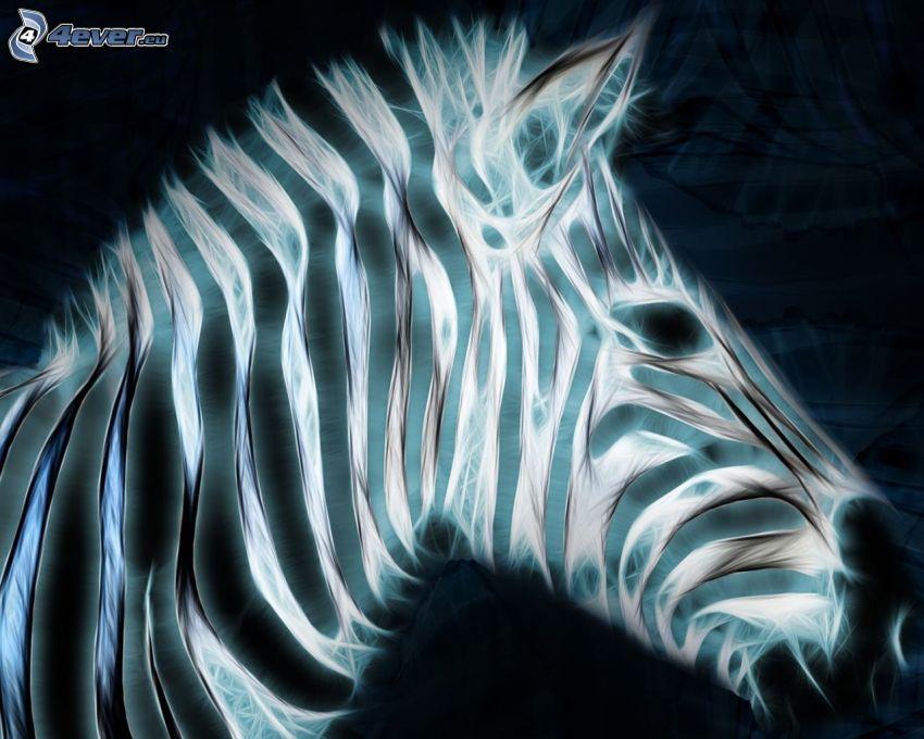zèbre, animaux fractals