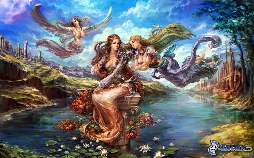 elfe, anges, femmes dessinées