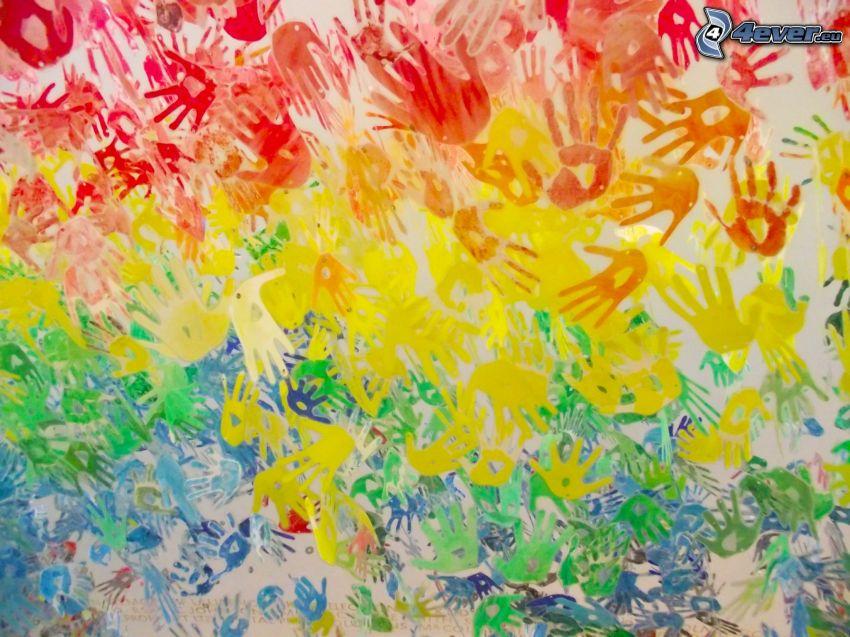 empreintes de mains, couleurs