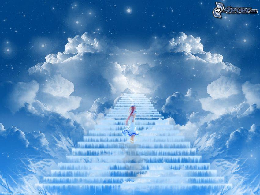 escalier dans le ciel, fille dessinée, nuages, étoiles
