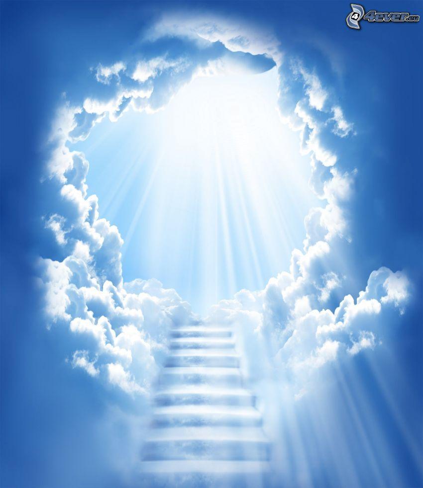 escalier dans le ciel, rayons du soleil, nuages