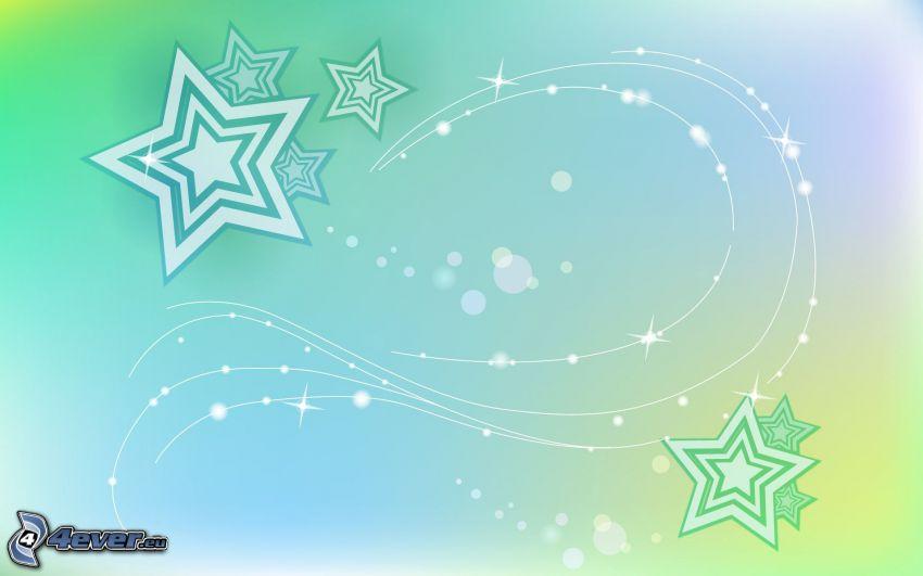 étoiles, lignes blanches