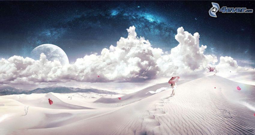 femme chinoise, parapluie, sable, nuages, lune