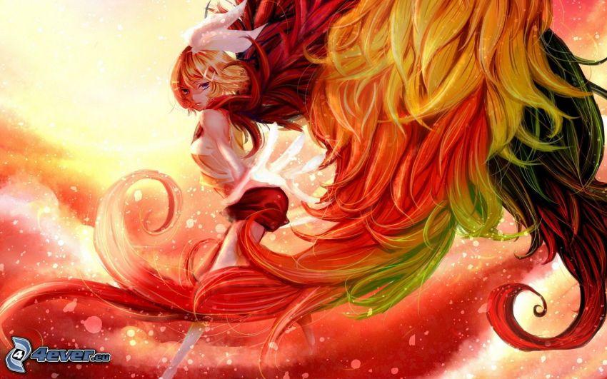 femme dessiné, cheveux colorés