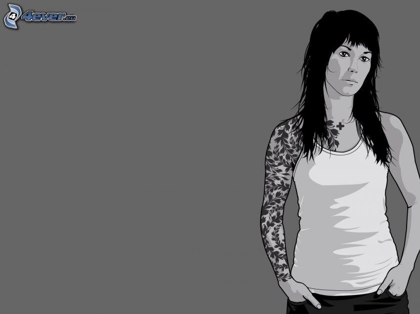 femme dessiné, tatouage