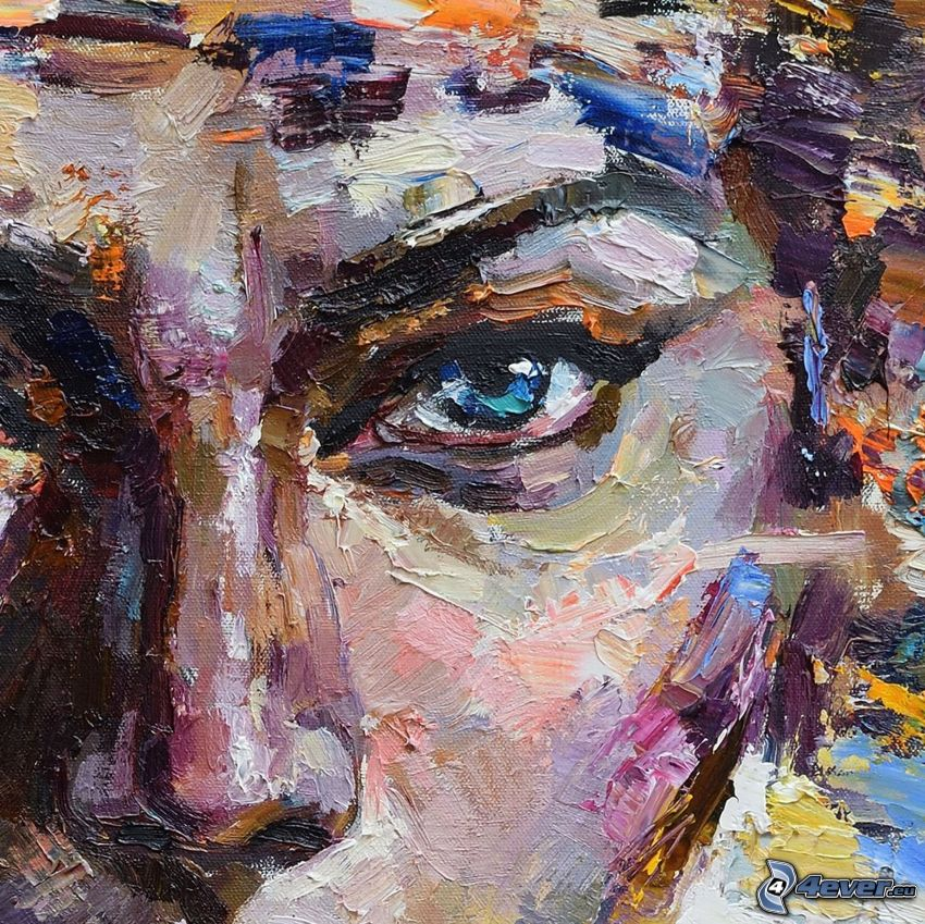 femme dessiné, yeux bleus