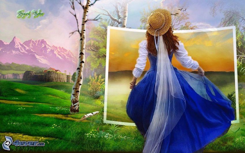 fille, image, paysage