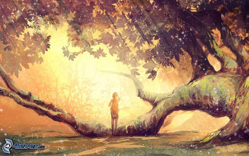 fille dessinée, arbre, rayons du soleil
