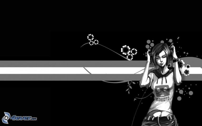 fille dessinée, fleurs graphiques, bandes