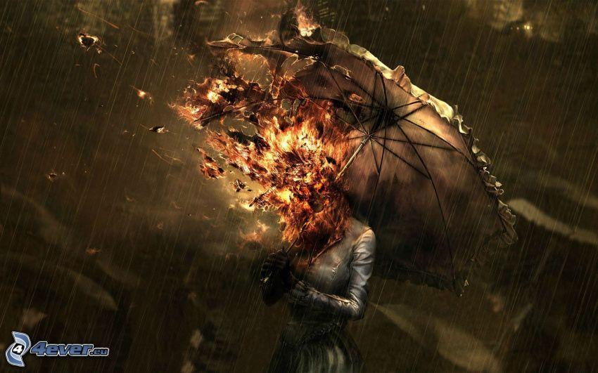 fille d'incendie, femme avec un parapluie, feu, pluie