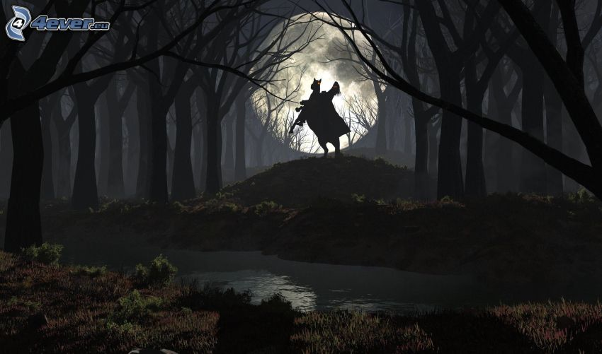 forêt sombre, une femme à cheval, silhouette, lune, ruisseau de forêt