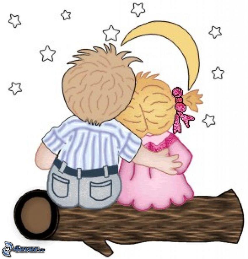 garçon et fille, tronc, lune, étoiles, amour