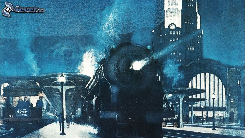 gare, locomotive à vapeur, nuit