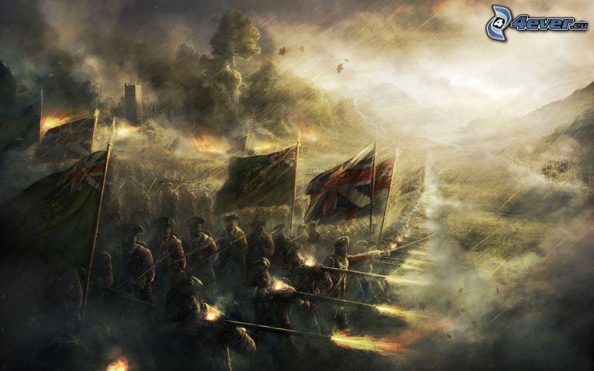 guerre, soldats, armes, drapeaus, fumée