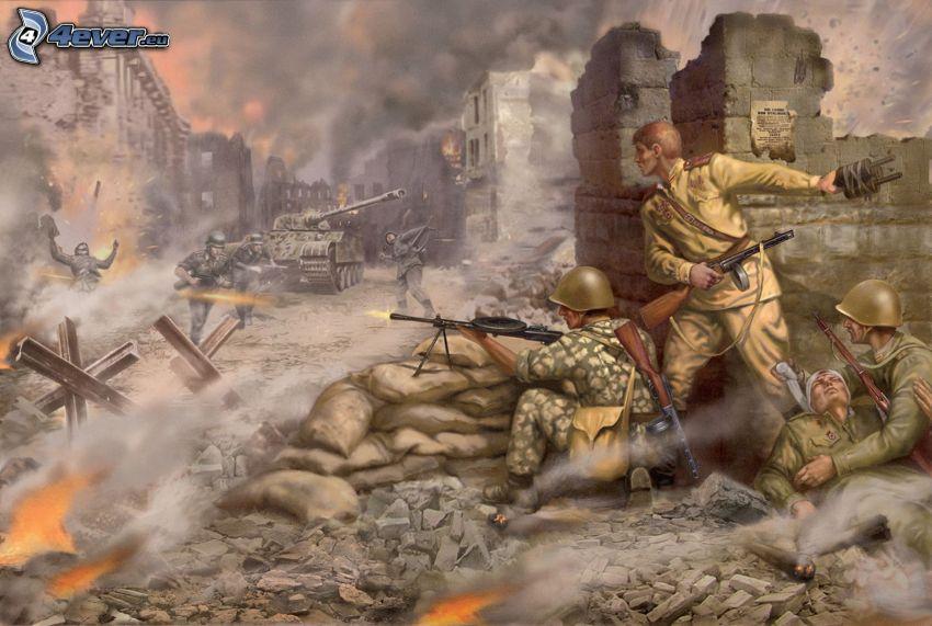 guerre, soldats, fumée
