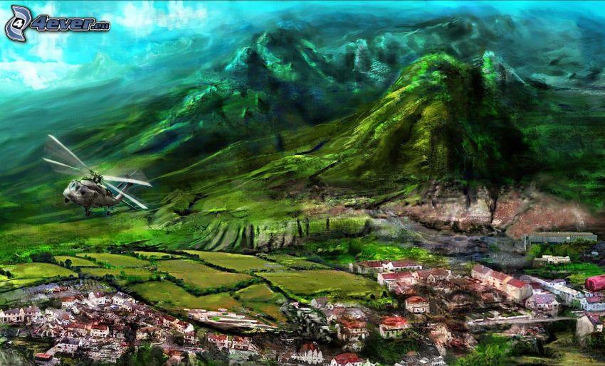 hélicoptère, village dessiné, collines