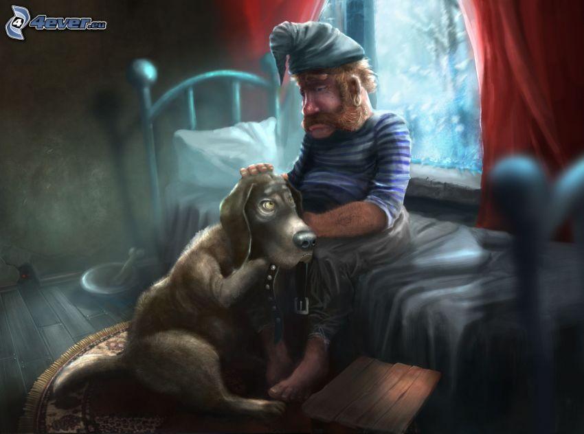 homme avec un chien, farfadet