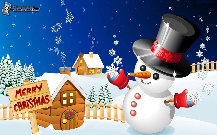 homme de neige, Merry Christmas, chalets, flocons de neige