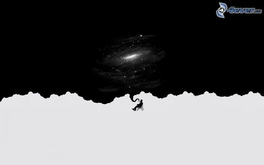 homme dessiné, galaxie
