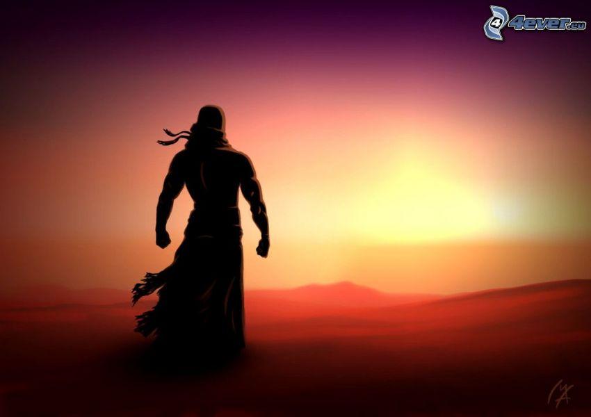 homme dessiné, silhouette d'un homme, coucher du soleil