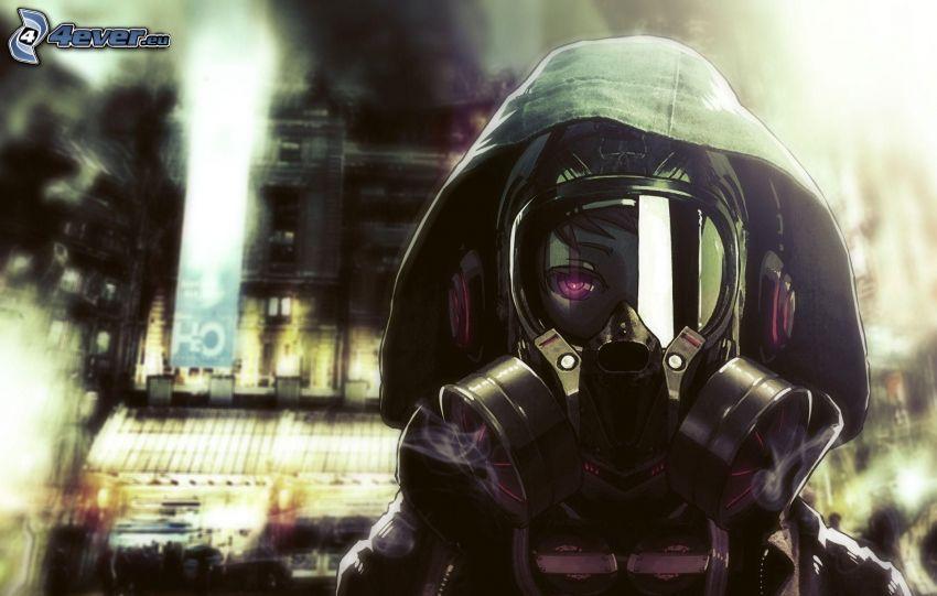 homme en masque à gaz