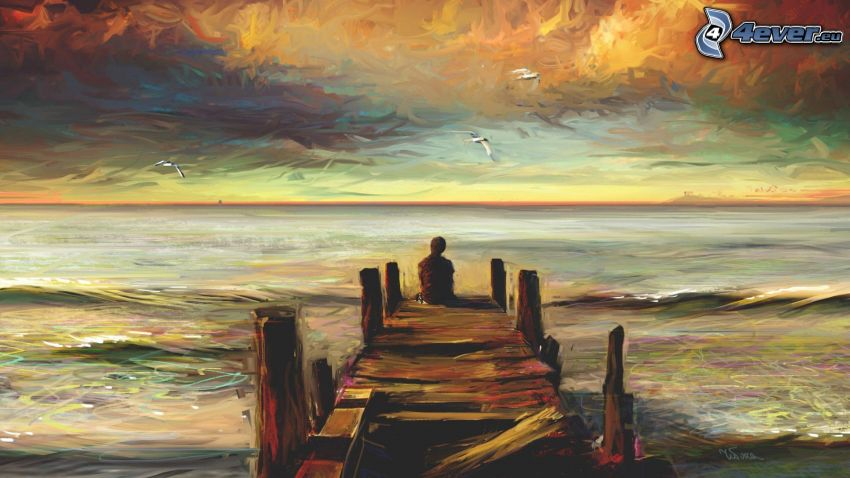 jetée en bois, mer, ciel, peinture à l'huile